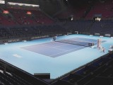 "Diretta Online punteggio finale singolare maschile ""Swiss Indoors Basel"". In foto la struttura in cui si disputa il torneo Atp di Basilea. (Photo: credits to https://www.facebook.com/swissindoorsbasel/ )"