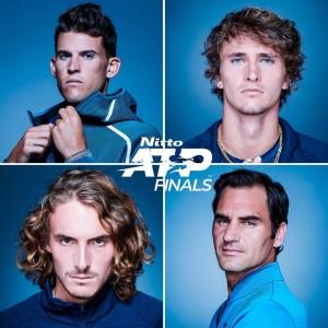 In alto, da sinistra e in senso orario: Dominic Thiem, Alex Zverev, Roger Federer e Stefanos Tsitsipas. (Fonte foto: credits to official Facebook page ATP Tour)
