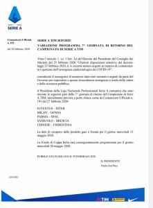 Emergenza Coronavirus: rinvii per 5 partite di Serie A
